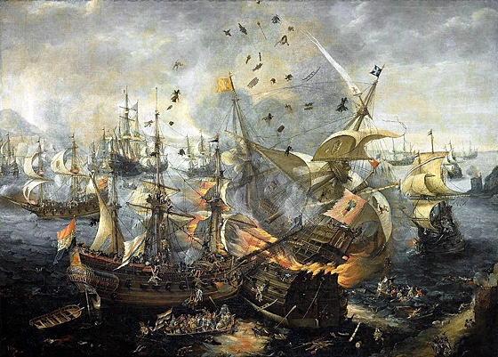 The Battle of Gibraltar (1607): painting showing galleons in combat