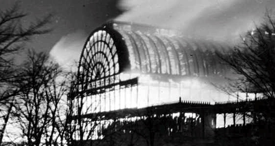 The Crystal Palace burning down, 1936