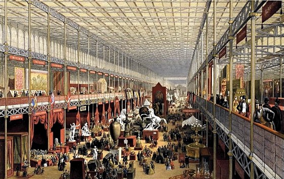 Interior of the Crystal Palace with Neoclassical decorations, 1851
