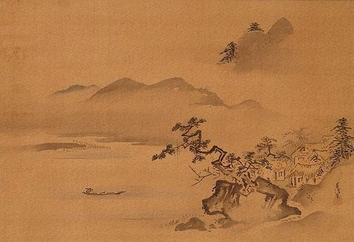 Landscape ink-painting by Kano Chikanobu, late 17th century