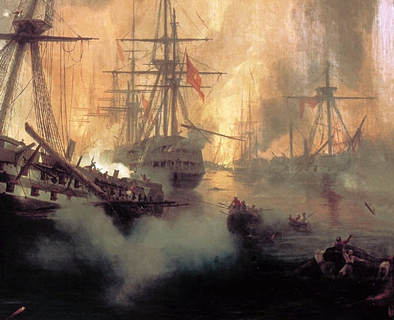 Wreckage in a sea battle