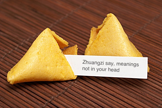 Fortune cookie: Zhuangzi say, meanings not in your head