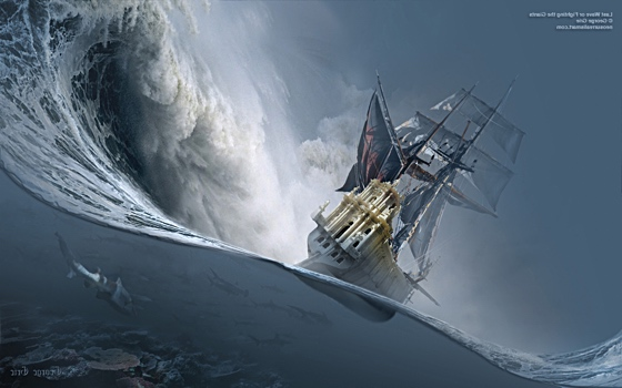 Galleon tilting on giant wave