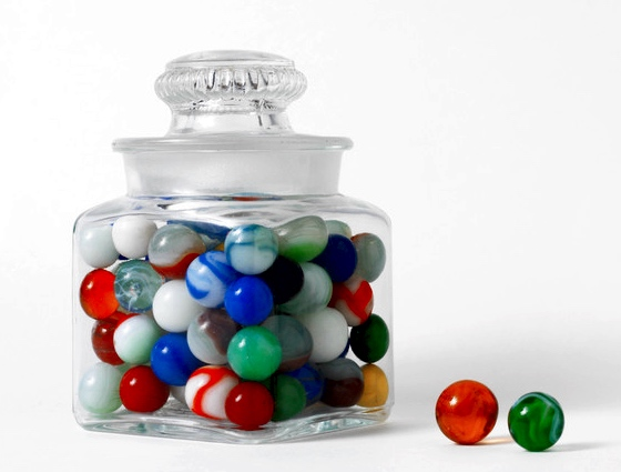 Marbles in and out of a jar