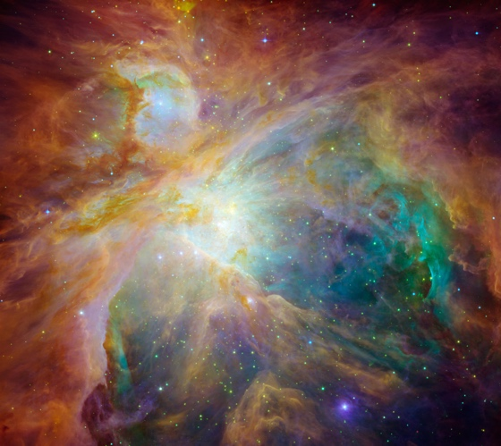 Gas clouds in the Trapezium of Orion