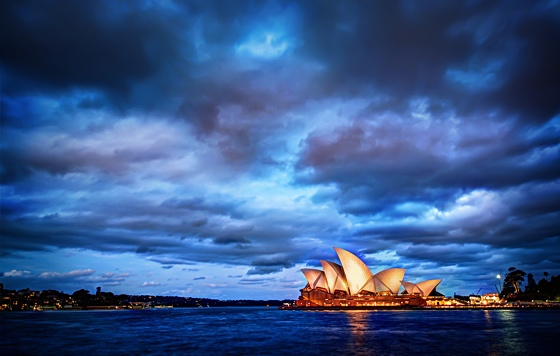 Dramatic cloudscape over Sydney opera house